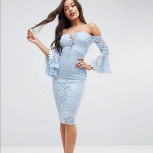 ASOS Baby Blue Bardot Flute Sleeves Midi Dress